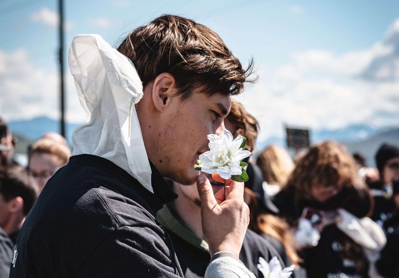 flower activist outside