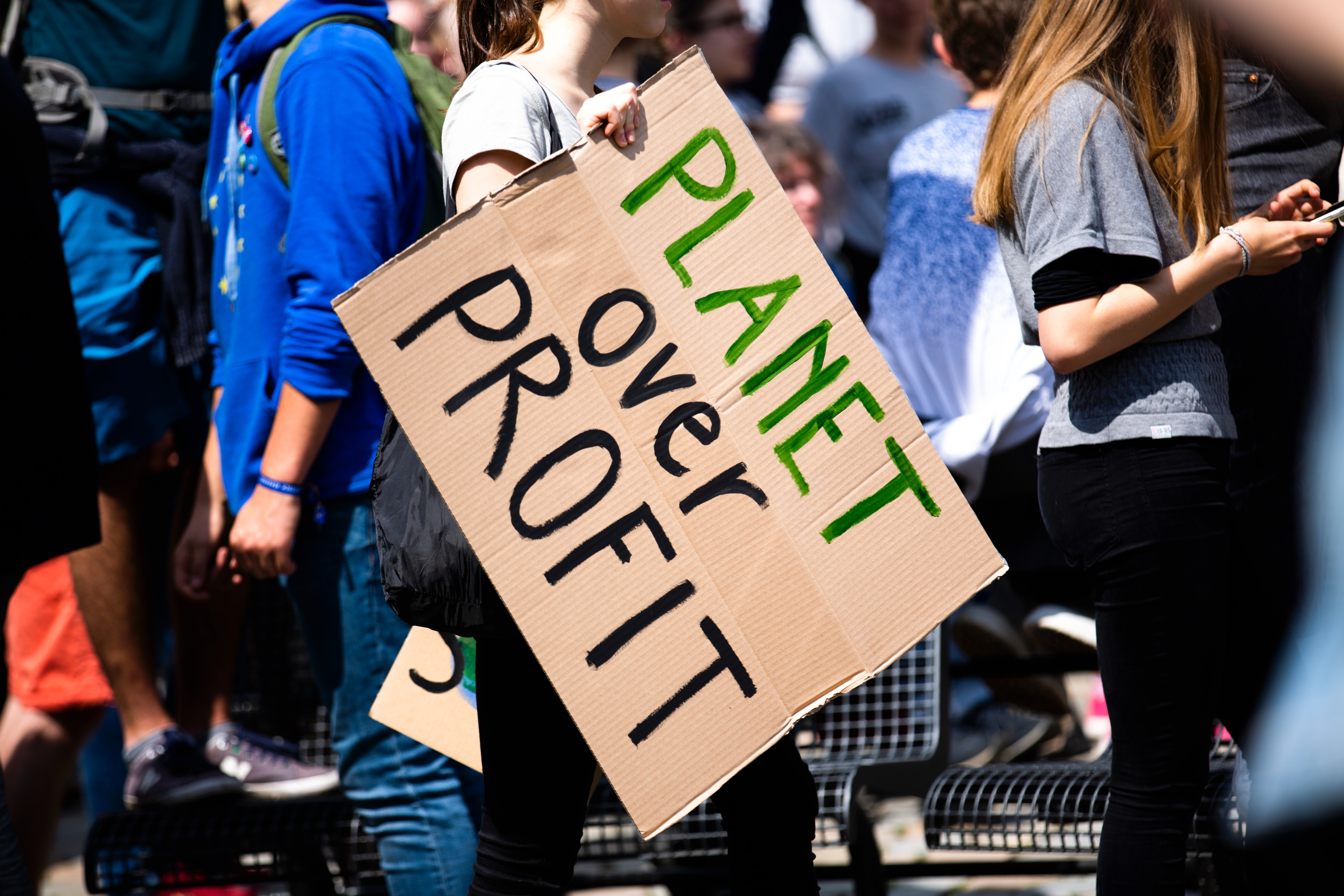 environmental activist with sign