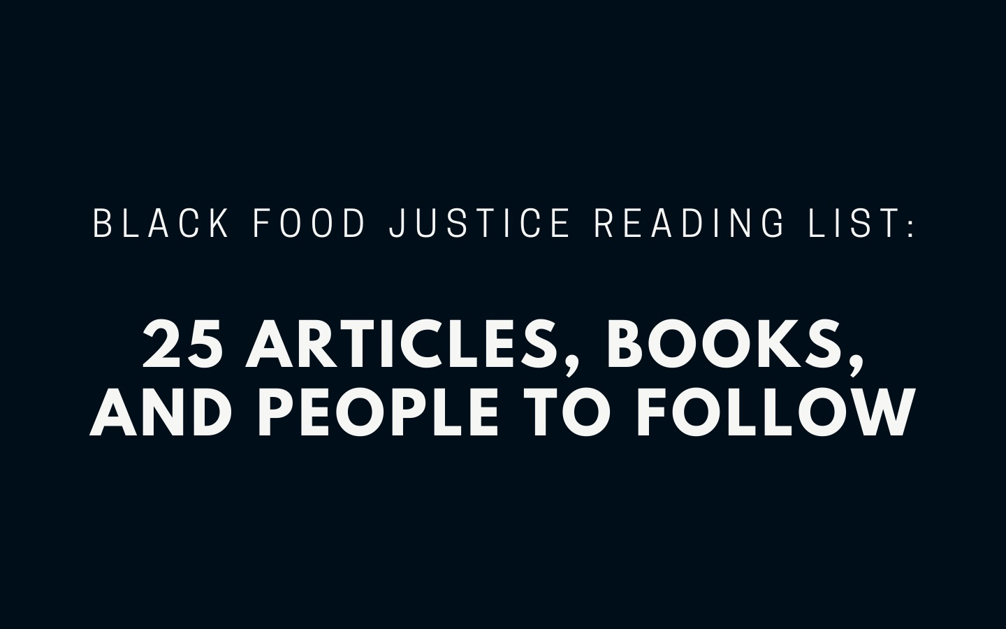 black food justice reading list